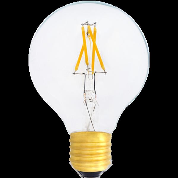 a zdjęciu Żarówka dekoracyjna LED filament G80 Deco LED E27 230V 4W 2700K