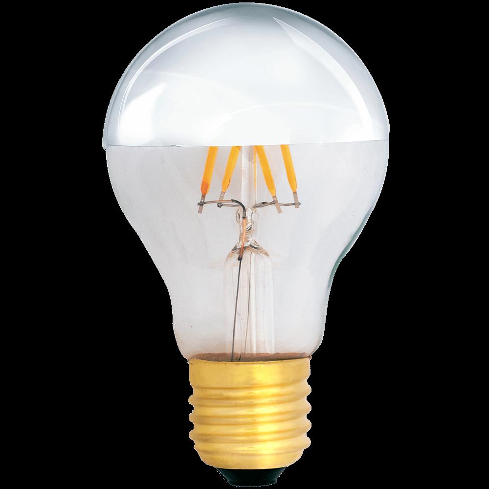 na zdjęciu Żarówka dekoracyjna LED filament A19 Deco LED E27 230V 4W 2700K lustrzana połowa srebrna ściemnialna
