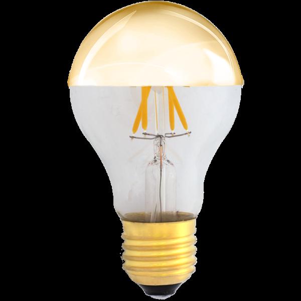 zdjęcie prezentuje Żarówka dekoracyjna LED filament A19 Deco LED E27 230V 4W 2700K lustrzana połowa złota Eiko