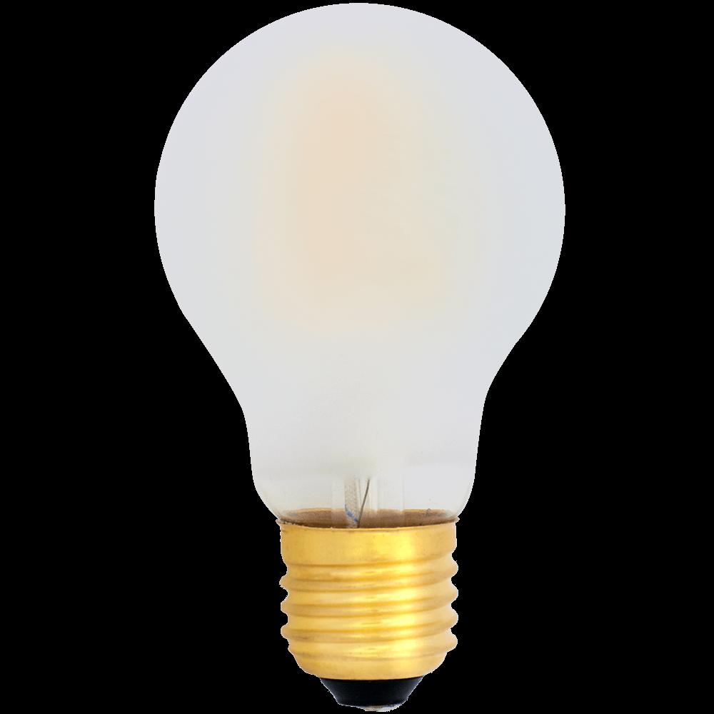 Na zdjęciu Żarówka dekoracyjna LED filament A19 Deco LED E27 230V 6W 2700K oszroniona, mleczna bańka
