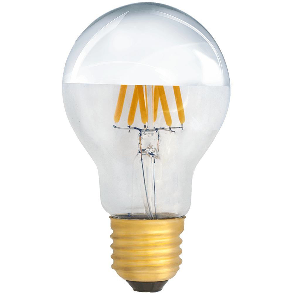 na zdjęciu Żarówka dekoracyjna LED filament A19 Deco LED E27 230V 6W 2700K lustrzana połowa srebrna ściemnialna Eiko