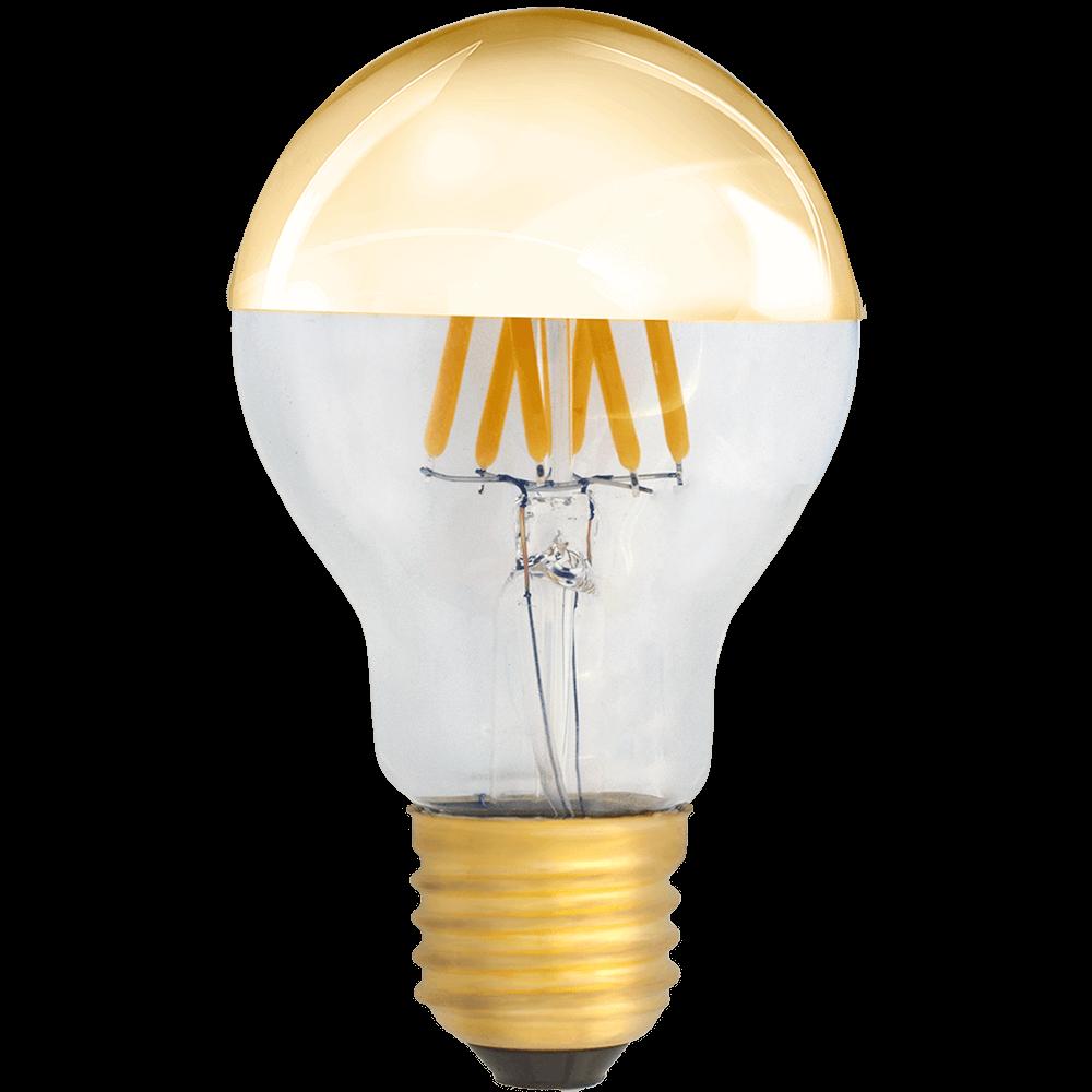 na zdjęciu Żarówka dekoracyjna LED filament A19 Deco LED E27 230V 6W 2700K lustrzana połowa złota Eiko