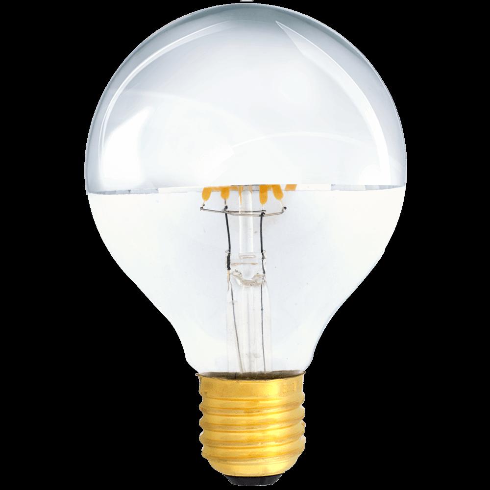 na zdjęciu widoczna Żarówka dekoracyjna LED filament G95 Deco LED E27 230V 4W 2700K lustrzana połowa srebrna Eiko