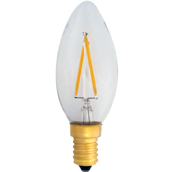 na zdjęciu Żarówka dekoracyjna LED filament C35 Deco LED E14 230V 2W 2400K świeczka Eiko