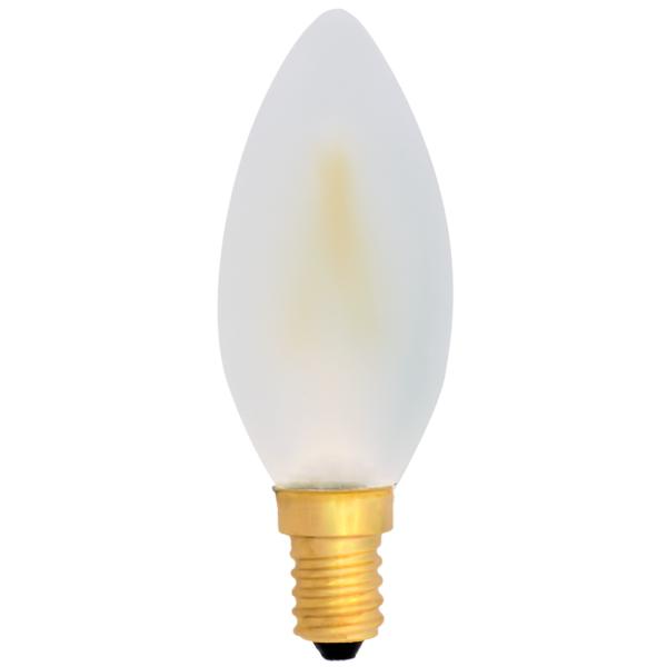 na zdjęciu Żarówka dekoracyjna LED filament C35 Deco LED E14 230V 2W 2700K mleczna ściemnialna Eiko