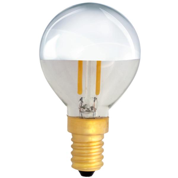 na zdjęciu Żarówka dekoracyjna LED filament G45 Deco LED E14 230V 2W 2700K połowa srebrna Eiko
