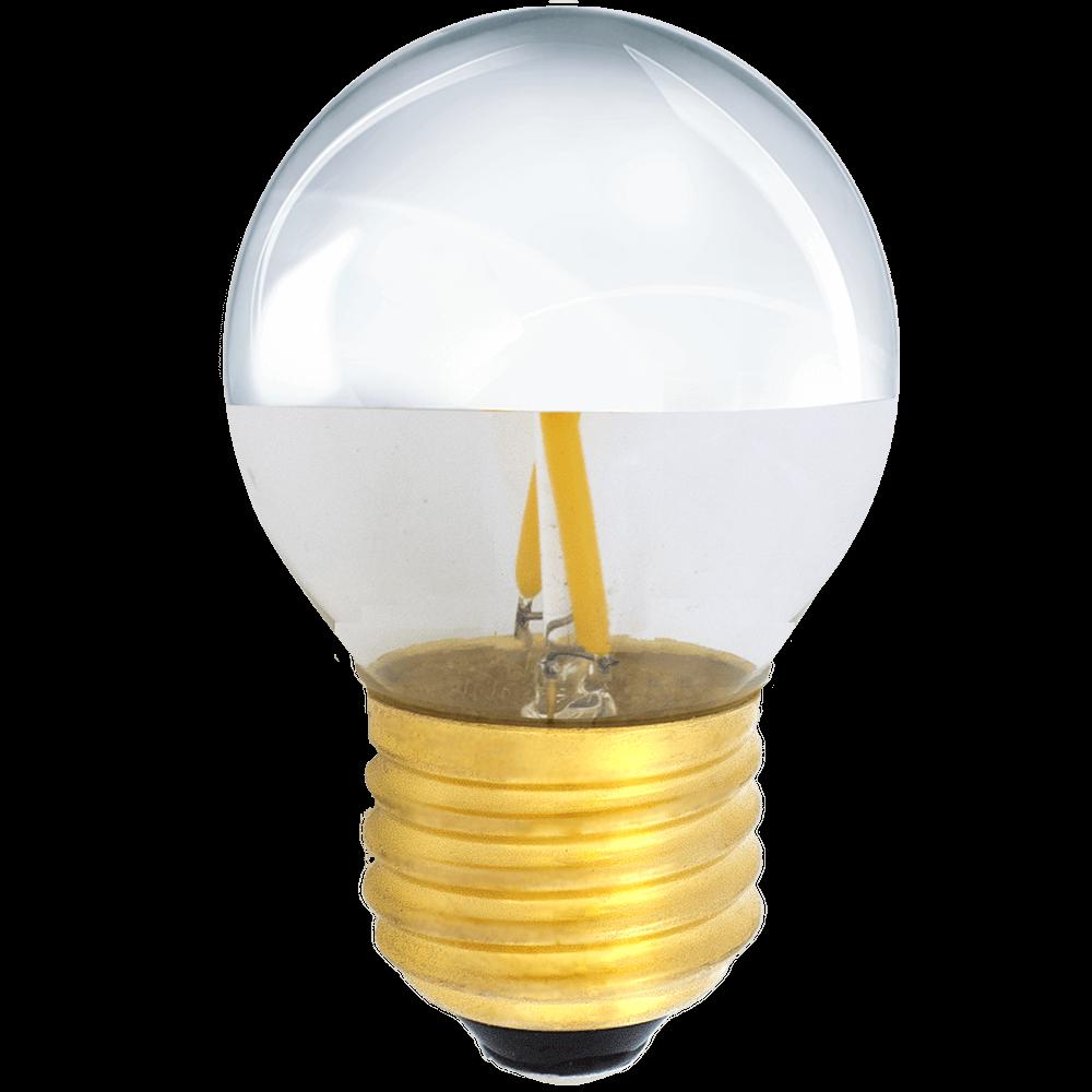 na zdjęciu Żarówka do girland LED filament G45 Deco E27 230V 2W 2700K połowa srebrna Eiko