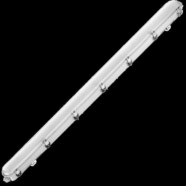 na zdjęciu odporna na uderzenia hermetyczna lampa przemysłowa Tri proof 1,5 m długości 54 W i 6480 lm wyposażona w zasilanie awaryjne
